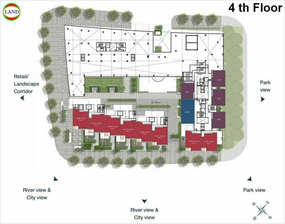 Mặt bằng duplex tầng 4 Cove Residence - MU11 Empire City