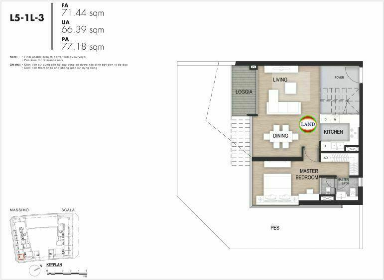 Mặt bằng căn hộ tầng 5, mẫu 5, the Opera metropole
