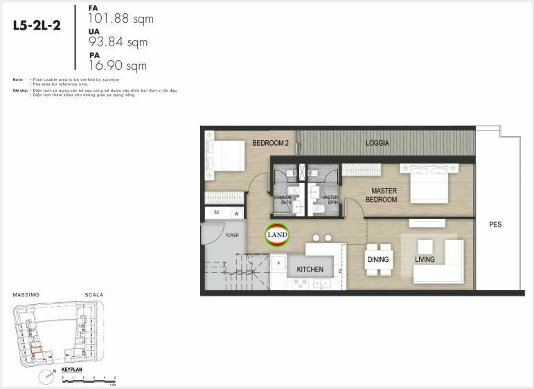Mặt bằng căn hộ tầng 5, mẫu 7, the Opera metropole