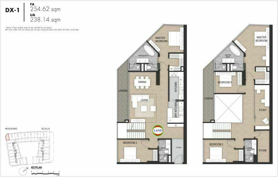 Layout duplex tầng 3-4, mẫu 1, The Opera Residence