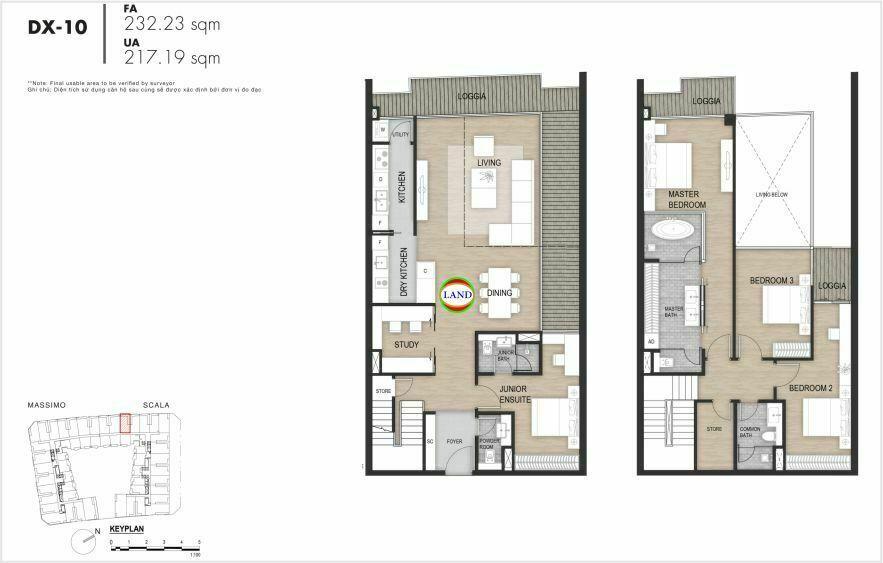 Layout duplex tầng 3-4, mẫu 10, The Opera Residence