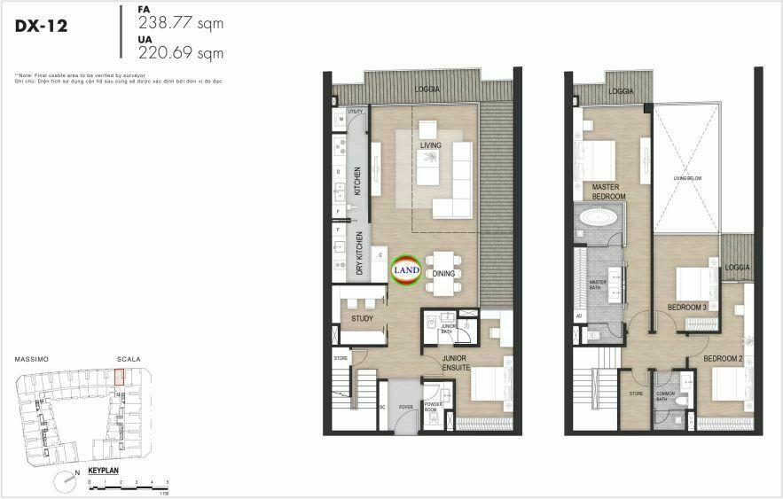 Layout duplex tầng 3-4, mẫu 12, The Opera Residence Thủ Thiêm