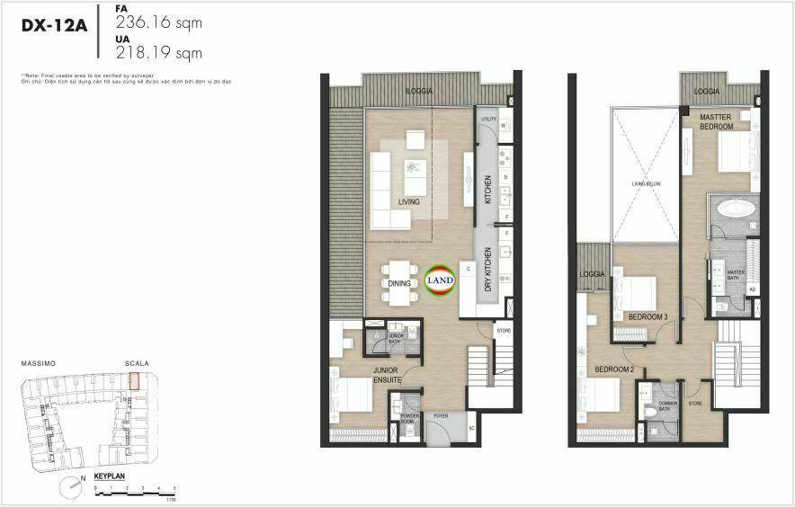 Layout duplex tầng 3-4, mẫu 13, The Opera Residence Thủ Thiêm