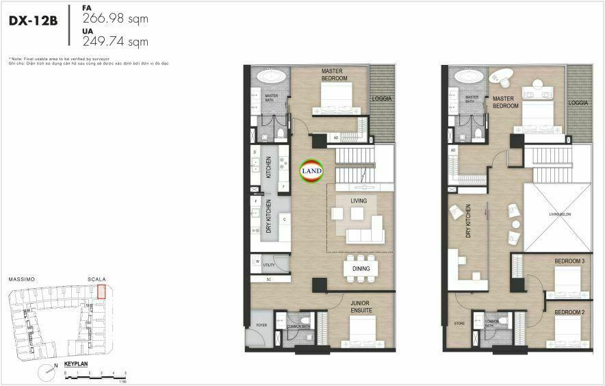 Layout duplex tầng 3-4, mẫu 14, The Opera Residence Thủ Thiêm
