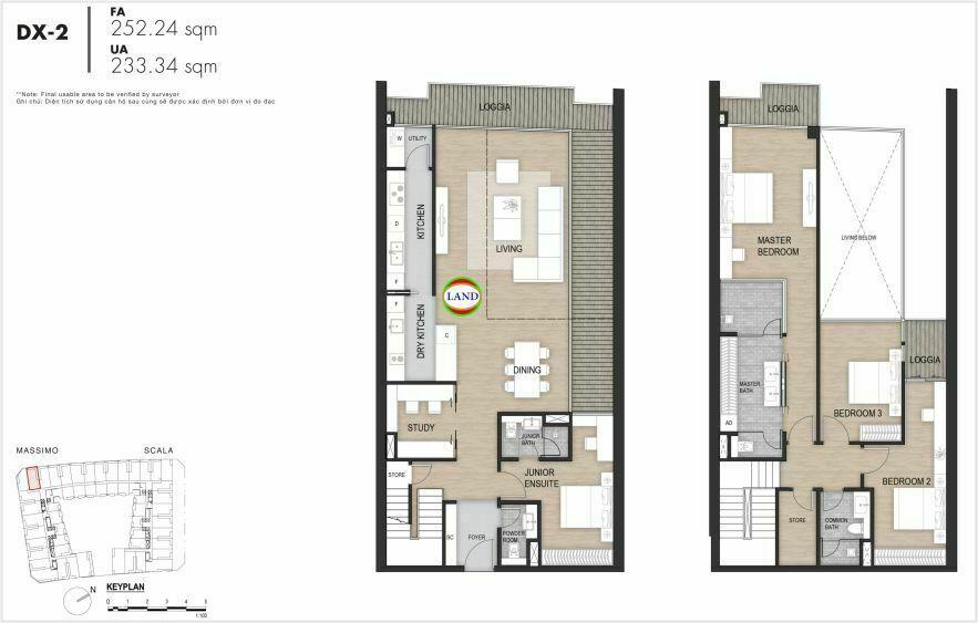 Layout duplex tầng 3-4, mẫu 2, The Opera Residence