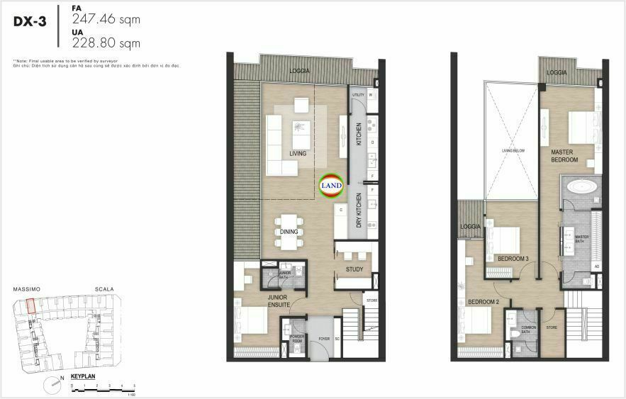 Layout duplex tầng 3-4, mẫu 3, The Opera Residence