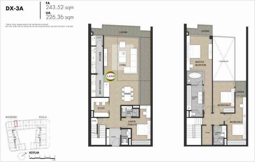 Layout duplex tầng 3-4, mẫu 4, The Opera Residence
