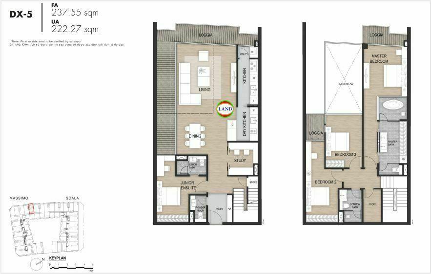 Layout duplex tầng 3-4, mẫu 5, The Opera Residence