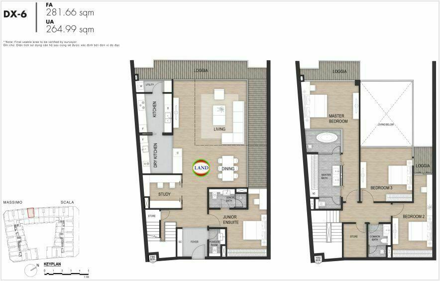 Layout duplex tầng 3-4, mẫu 6, The Opera Residence