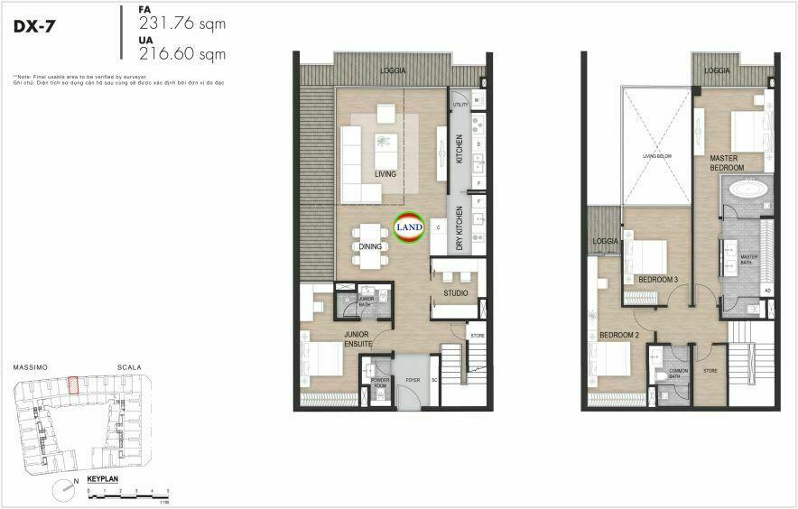 Layout duplex tầng 3-4, mẫu 7, The Opera Residence