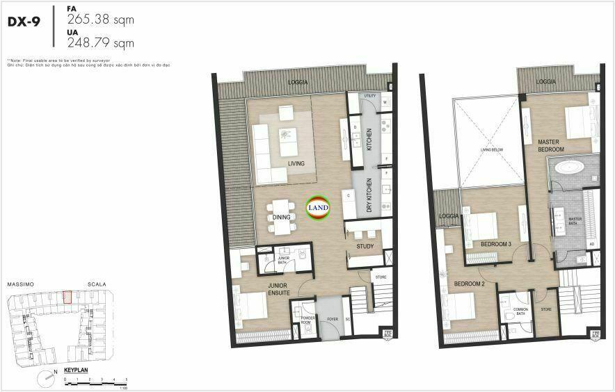 Layout duplex tầng 3-4, mẫu 9, The Opera Residence