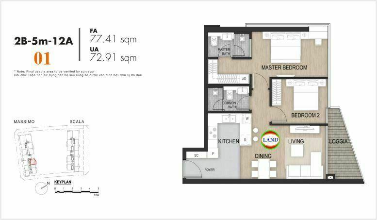 Mặt bằng căn số 1, tầng 6-22 tháp masimo - The Opera residence