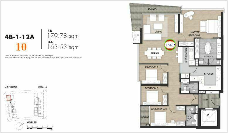 Mặt bằng căn số 10, tầng 6-22 tháp masimo - The Opera residence
