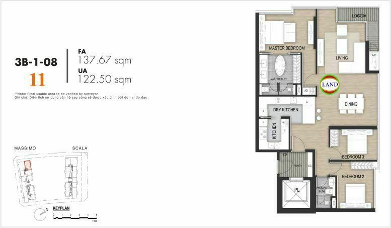 Mặt bằng căn số 11, tầng 6-22 tháp masimo - The Opera residence