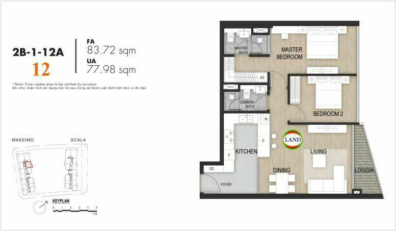 Mặt bằng căn số 12, tầng 6-22 tháp masimo - The Opera residence