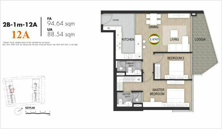 Mặt bằng căn số 13, tầng 6-22 tháp masimo - The Opera residence