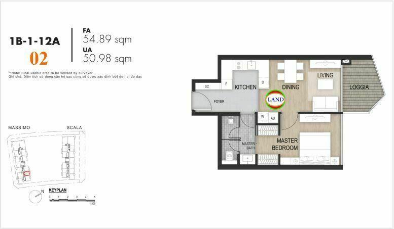Mặt bằng căn số 2, tầng 6-22 tháp masimo - The Opera residence