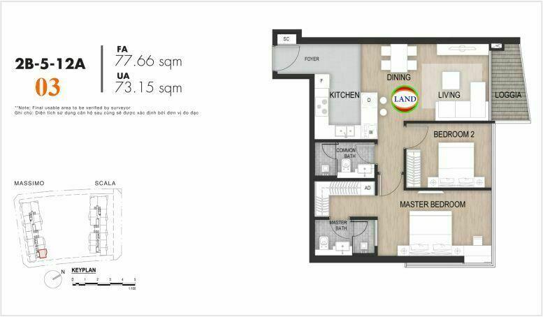 Mặt bằng căn số 3, tầng 6-22 tháp masimo - The Opera residence