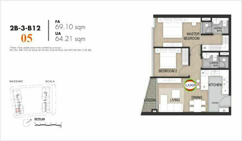 Mặt bằng căn số 5, tầng 6-22 tháp masimo - The Opera residence