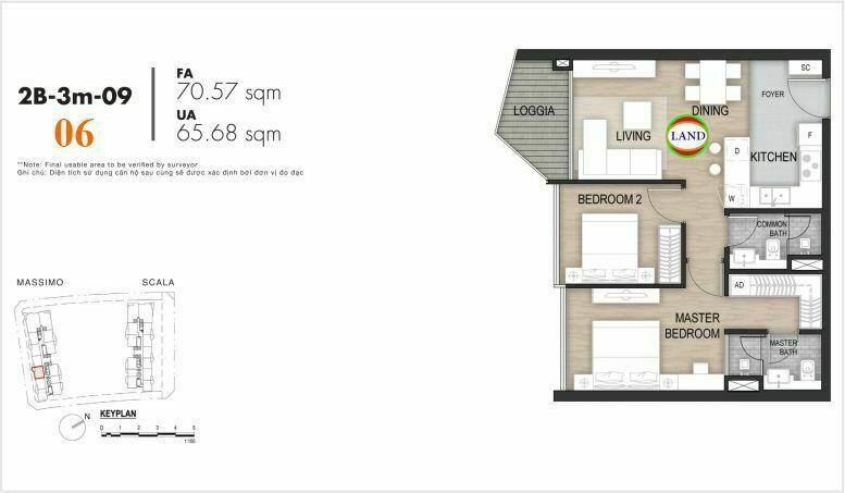 Mặt bằng căn số 6, tầng 6-22 tháp masimo - The Opera residence