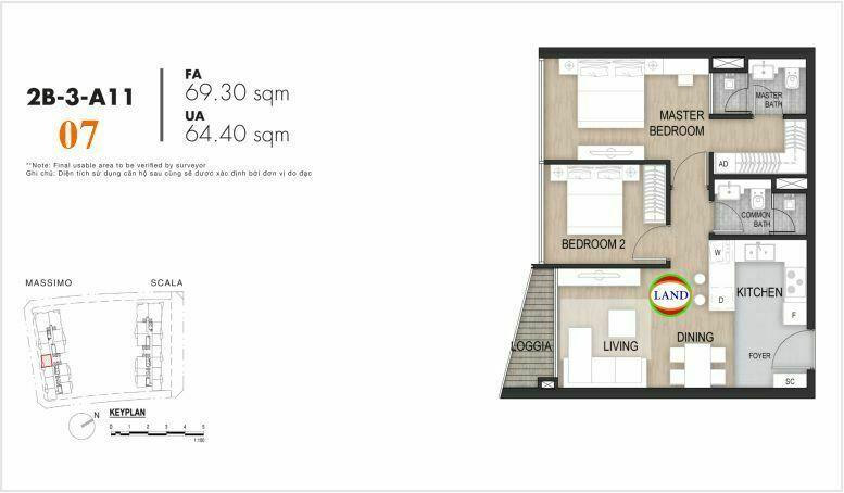 Mặt bằng căn số 7, tầng 6-22 tháp masimo - The Opera residence