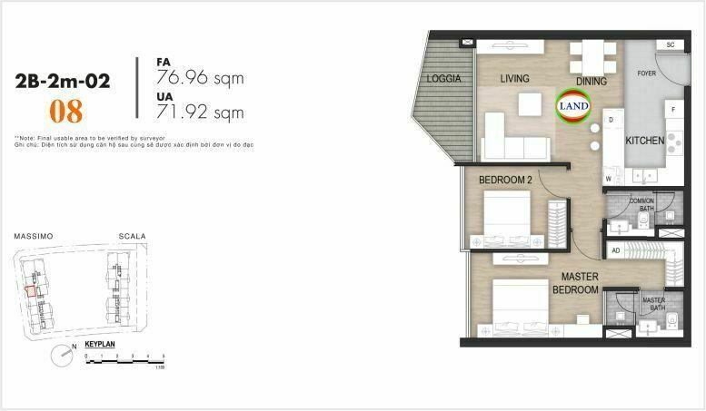 Mặt bằng căn số 8, tầng 6-22 tháp masimo - The Opera residence
