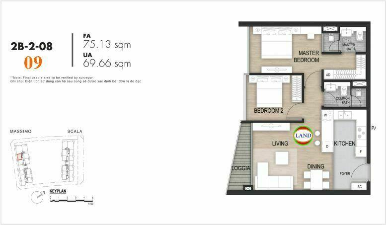 Mặt bằng căn số 9, tầng 6-22 tháp masimo - The Opera residence