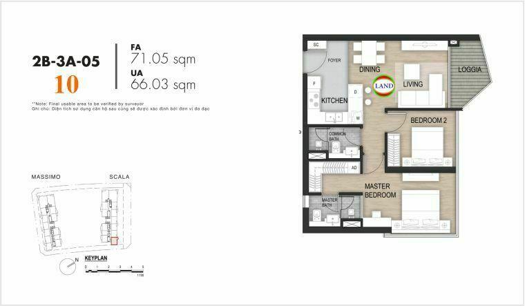 layout căn số 10, tầng 6-22 tháp Sacala - The Opera Metropole Thủ Thiêm