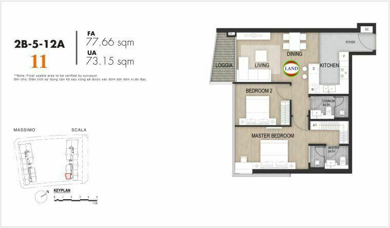 layout căn số 11, tầng 6-22 tháp Sacala - The Opera Metropole Thủ Thiêm