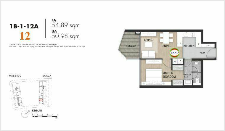 layout căn số 12, tầng 6-22 tháp Sacala - The Opera Metropole Thủ Thiêm