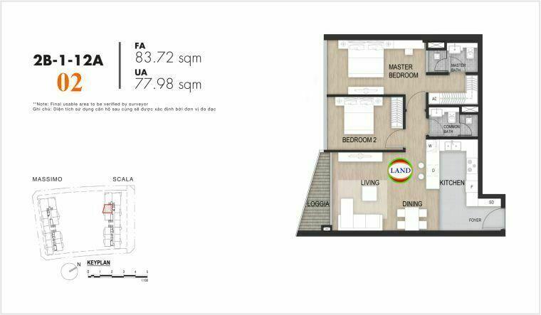 Mặt bằng căn số 2, tầng 6-22 tháp Sacala - The Opera Metropole Thủ Thiêm