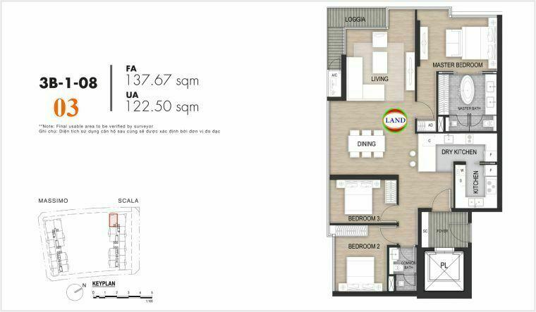 Mặt bằng căn số 3, tầng 6-22 tháp Sacala - The Opera Metropole Thủ Thiêm