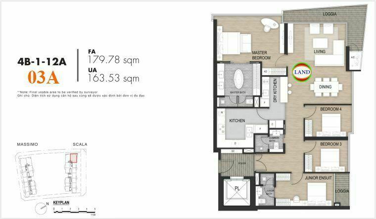layout căn số 4, tầng 6-22 tháp Sacala - The Opera Metropole Thủ Thiêm