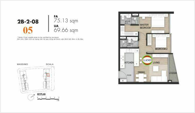 layout căn số 5, tầng 6-22 tháp Sacala - The Opera Metropole Thủ Thiêm