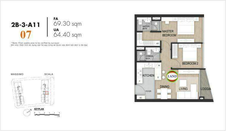 layout căn số 7, tầng 6-22 tháp Sacala - The Opera Metropole Thủ Thiêm