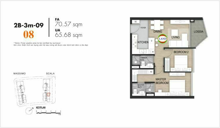 layout căn số 8, tầng 6-22 tháp Sacala - The Opera Metropole Thủ Thiêm