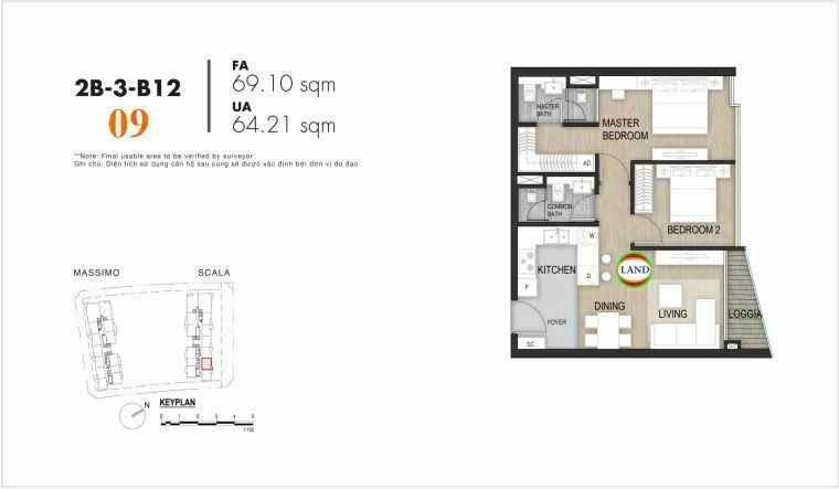 layout căn số 9, tầng 6-22 tháp Sacala - The Opera Metropole Thủ Thiêm