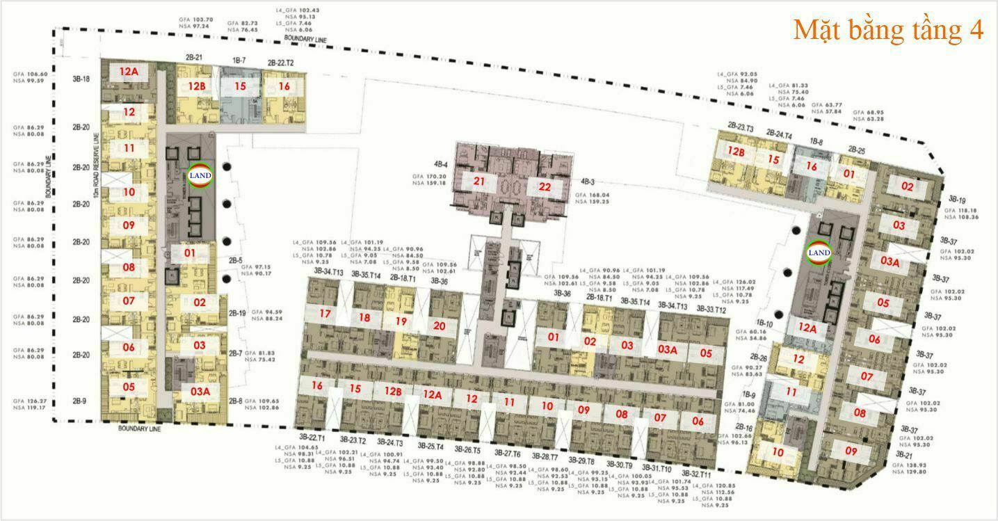 Mặt bằng (layout) tầng 4 The Galleria Residence - The Metropole Thủ Thiêm