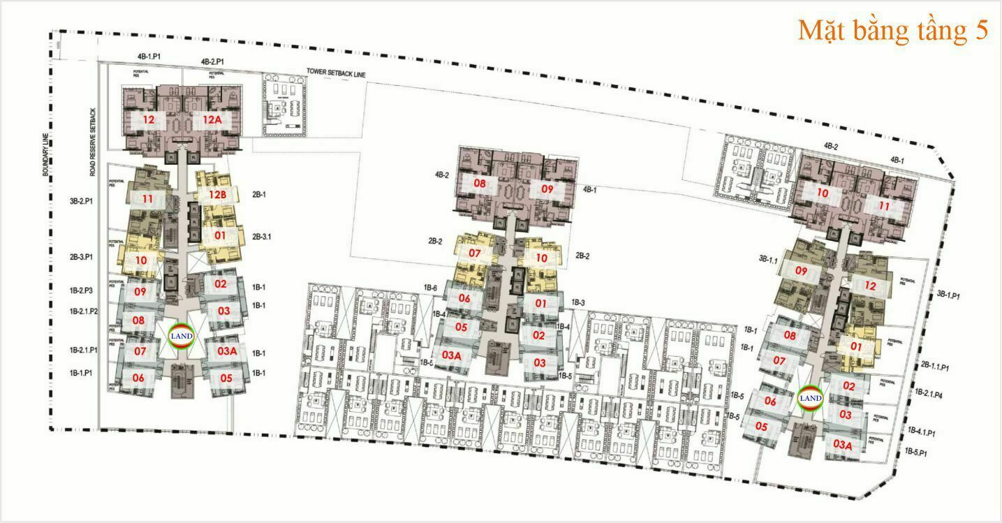 Mặt bằng (layout) tầng 5 The Galleria Residence - The Metropole Thủ Thiêm
