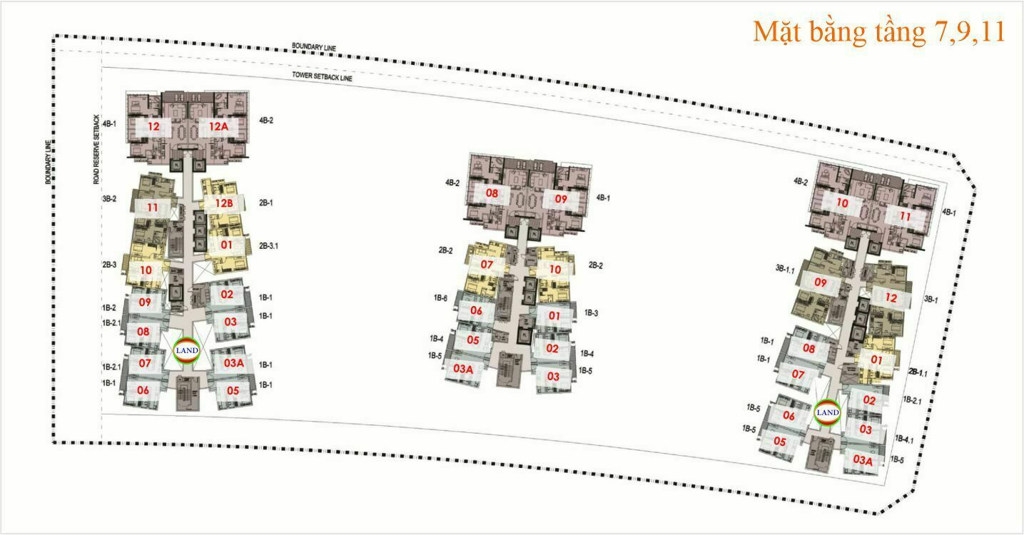 Mặt bằng (layout) tầng 7,9,11 The Galleria Residence - The Metropole Thủ Thiêm