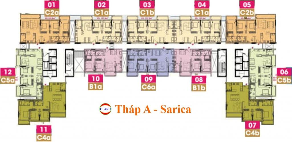 Mặt bằng (layout) tháp A Sarica condominium - Sala Đại Quang Minh