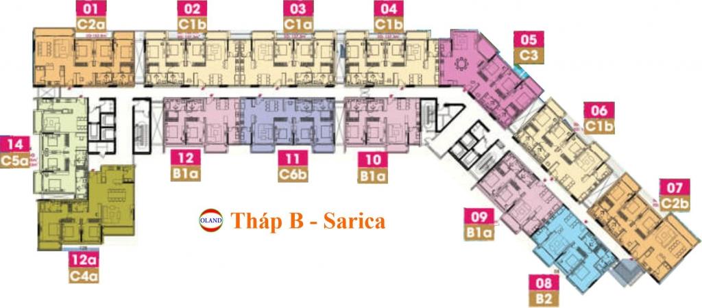 Mặt bằng (layout) tháp B Sarica condominium - Sala Đại Quang Minh