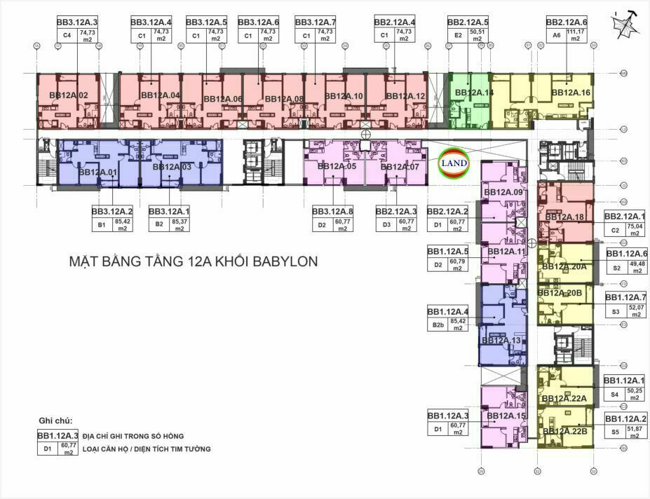 mặt bằng (layout) tầng 12a tháp Babylon - New City Thủ Thiêm