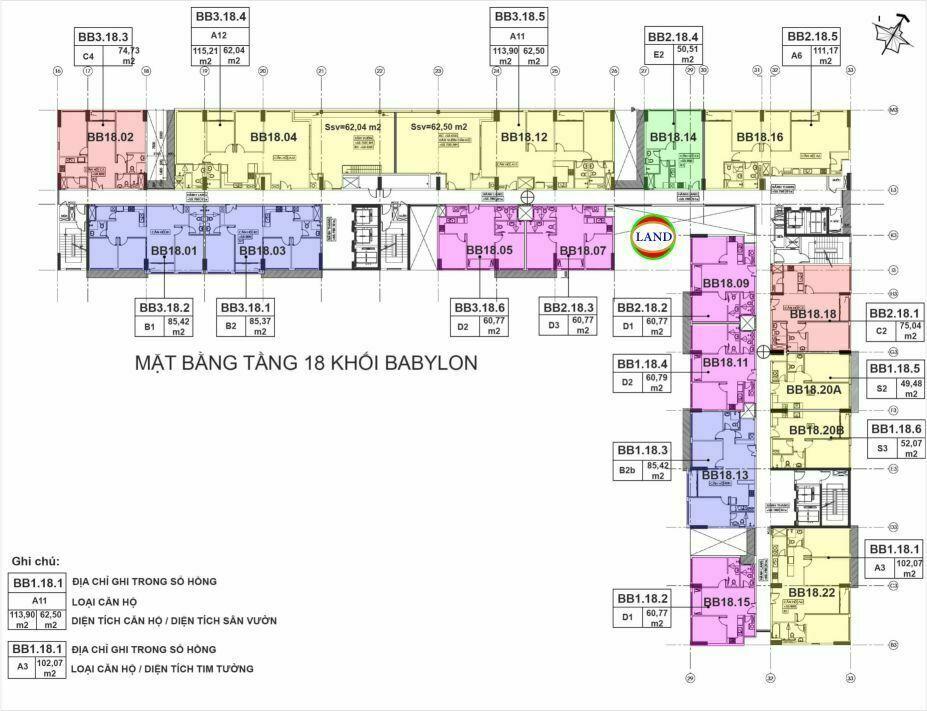 mặt bằng (layout) tầng 18 tháp Babylon - New City Thủ Thiêm