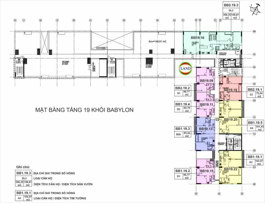 mặt bằng (layout) tầng 19 tháp Babylon - New City Thủ Thiêm