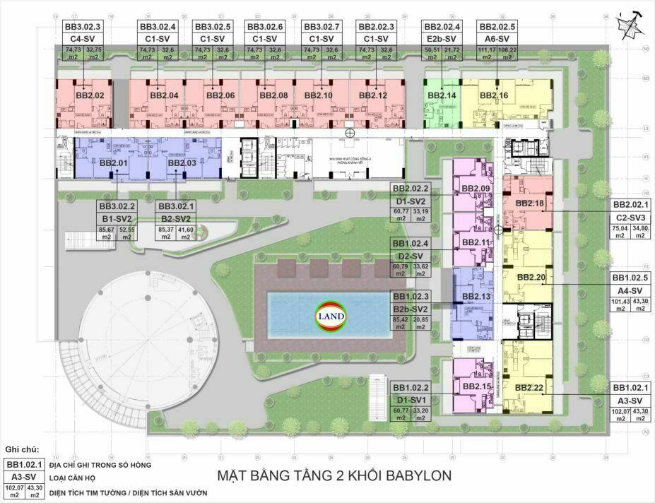 mặt bằng (layout) tầng 2 tháp Babylon - New City Thủ Thiêm