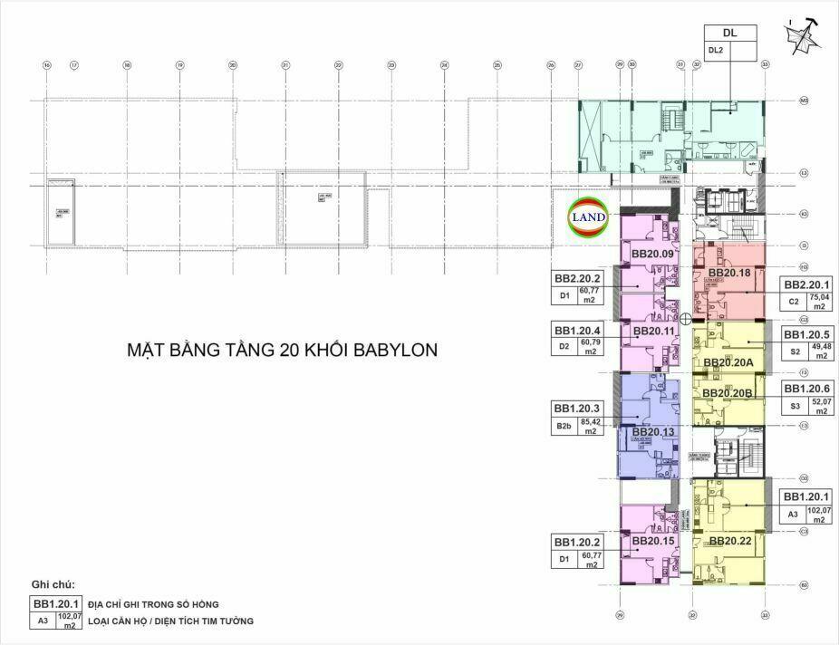 mặt bằng (layout) tầng 20 tháp Babylon - New City Thủ Thiêm