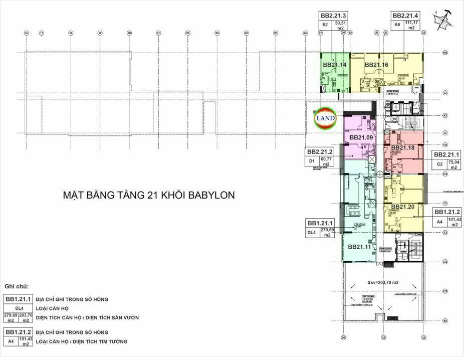 mặt bằng (layout) tầng 21 tháp Babylon - New City Thủ Thiêm
