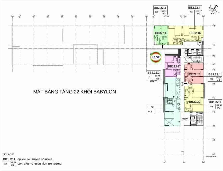 mặt bằng (layout) tầng 22 tháp Babylon - New City Thủ Thiêm