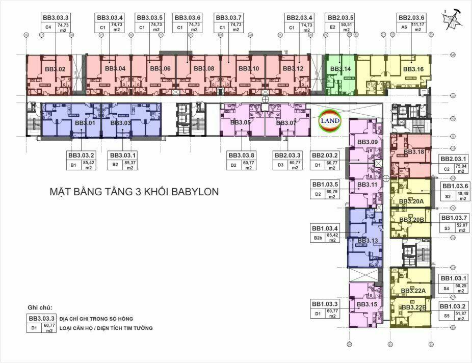mặt bằng (layout) tầng 3 tháp Babylon - New City Thủ Thiêm
